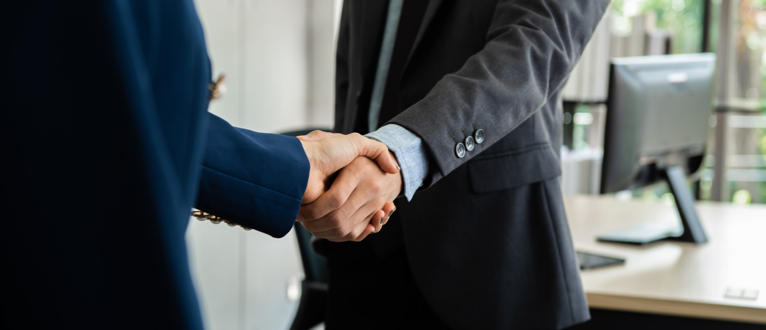 Picture of one of our leaders shaking hands with an IT Industry partner.